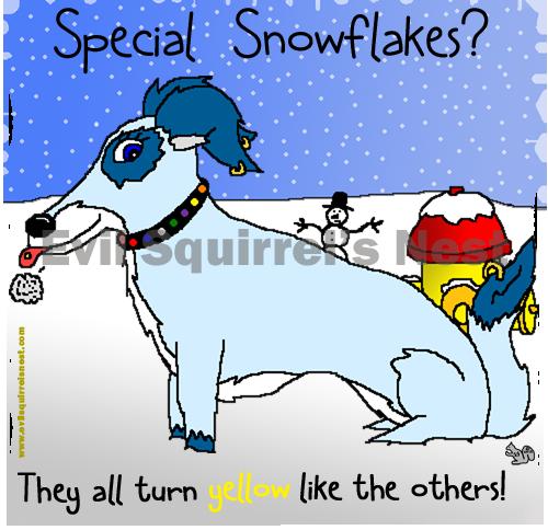 dog peeing on snow