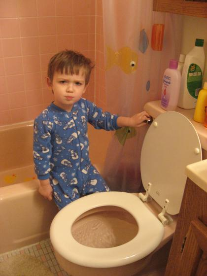 Mommy!  Who dumped all these Cheerios in our toilet?