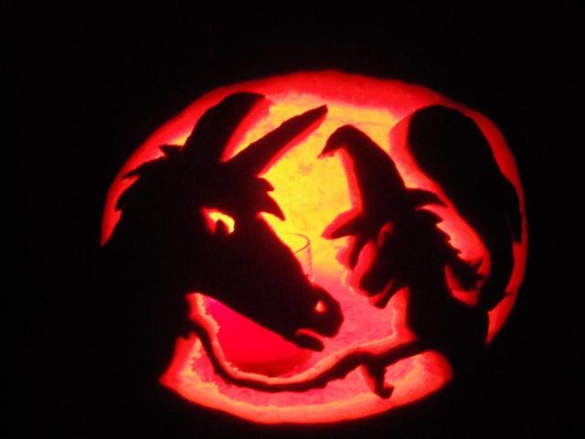 Maybe the only unicorn pumpkin carving ever.