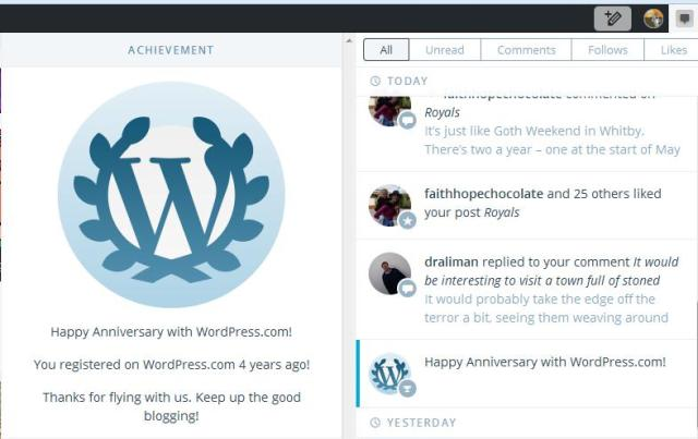 Thank you WordPress Helper Monkeys for turning May 26th into an annual party for no reason since I my real anniversary date in December 24th.