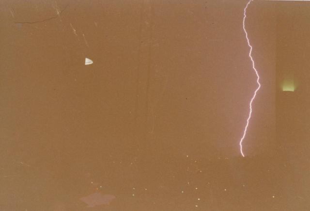 Yes, that is a bolt of lightning.  Taken with a FILM camera.