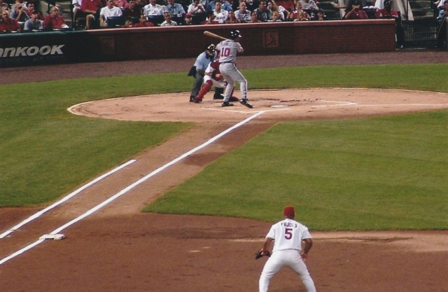 Three likely future Hall of Famers (Yadier Molina, Jones and Albert Pujols) in the same shot.  Way to go, Mom!